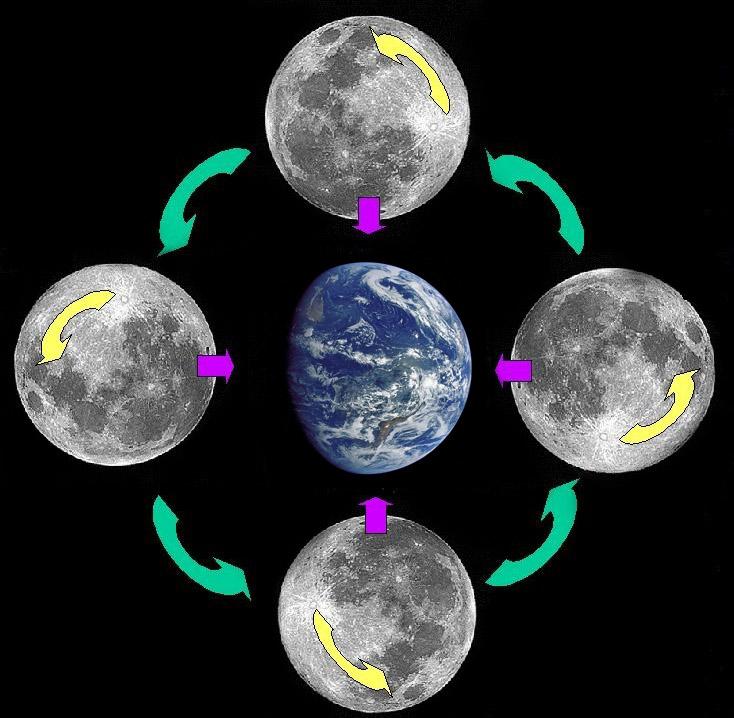 Схема вращения Луны